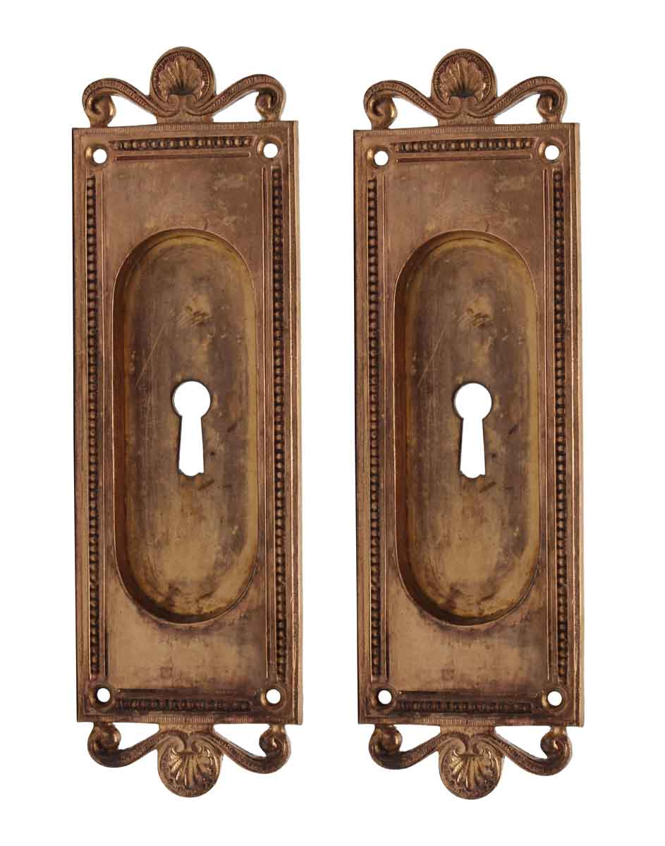 Pair Of Recessed Neoclassical Bronze Pocket Door Plates Olde Good