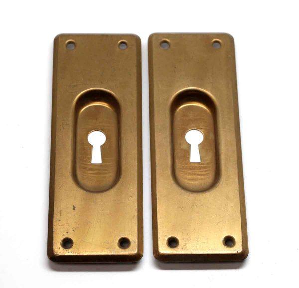 Pocket Door Hardware - Pair of Standard Brass Plated Keyhole Pocket Door Plates