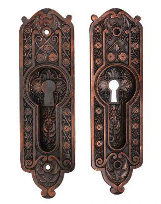 Pair Of Victorian Pocket Door Keyhole Back Plates