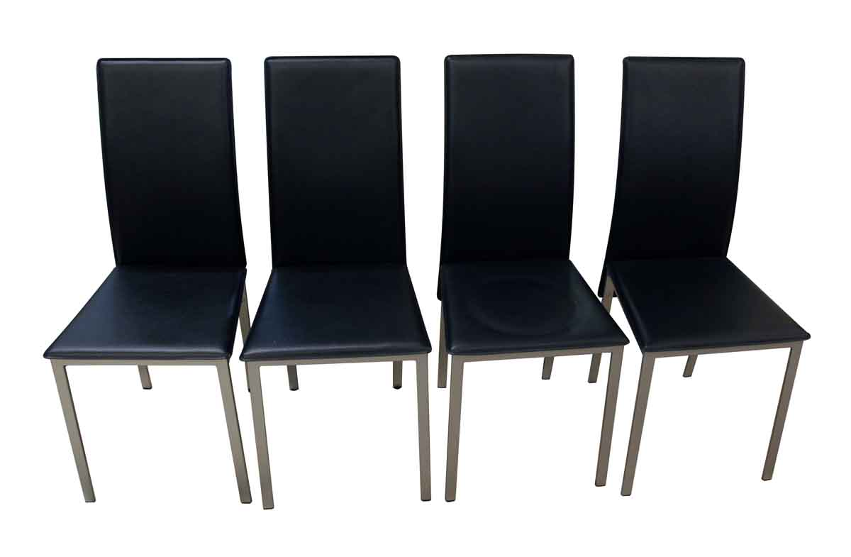 Seating newly made set of four black mid century aluminum frame chairs
