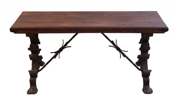 Seating - Wooden Bench with Wrought Iron Legs