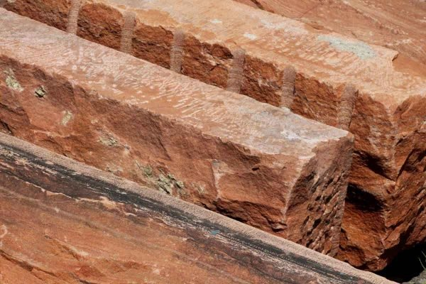Stone & Terra Cotta - Reclaimed Hand Hewn Red Wall Stone