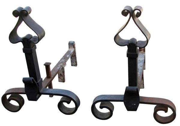 Andirons - Banded Wrought Iron Andirons