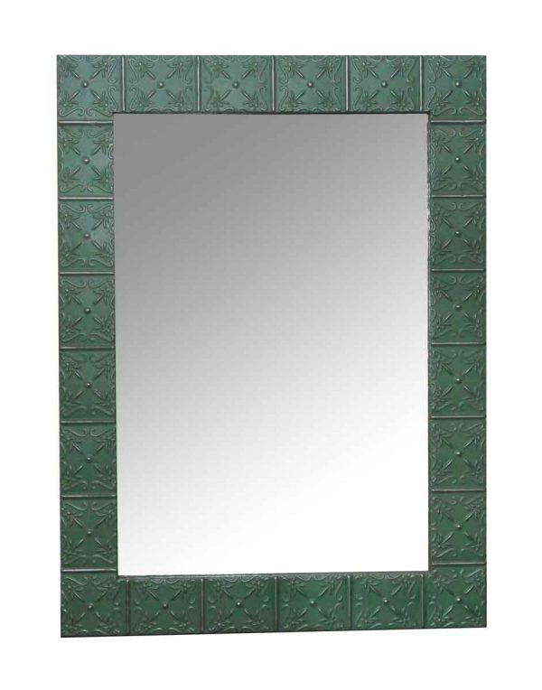 Antique Tin Mirrors - Antique Green Petals Tin Mirror