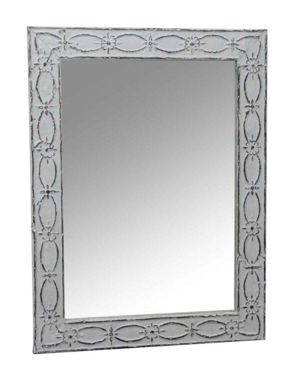 Antique Tin Mirrors - Antique White Floral & Fish Tin Mirror