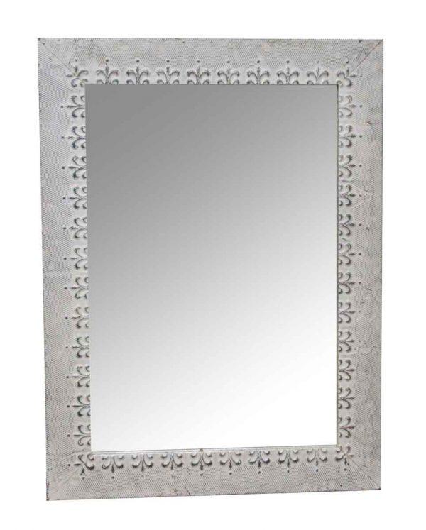 Antique Tin Mirrors - Antique White Tin Mirror with Fleur De Lis Border