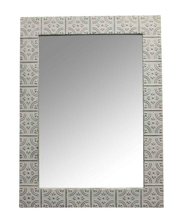 Antique Tin Mirrors - Corner Tulip Antique White Tin Panel Mirror
