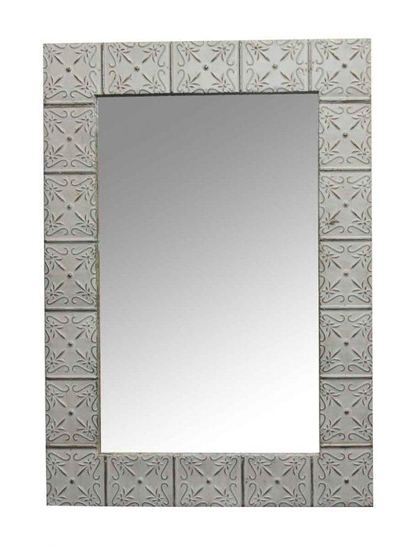 Antique Tin Mirrors - White Antique Petals Tin Mirror