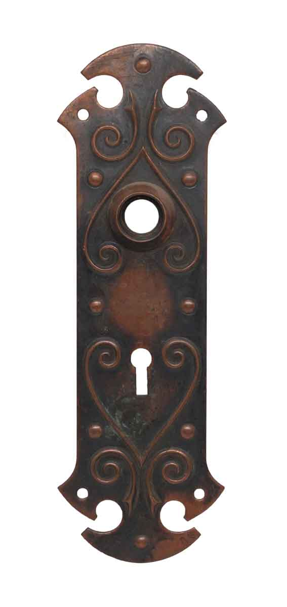 Back Plates - Gothic Brass Keyhole Door Back Plate with Heart Motif