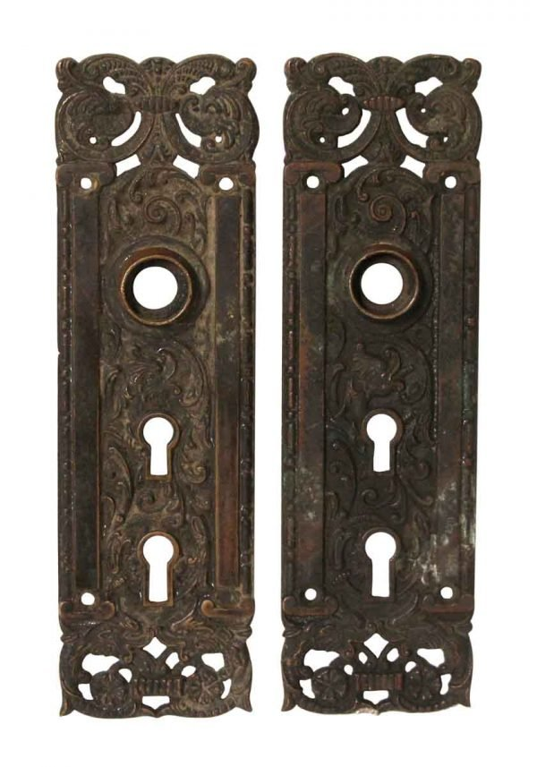 Back Plates - Pair of Bronze Columbian Double Keyhole Door Back Plates