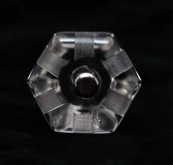 Cabinet & Furniture Knobs - Vintage Clear Glass 1.5 in. Lined Cabinet Drawer Knob