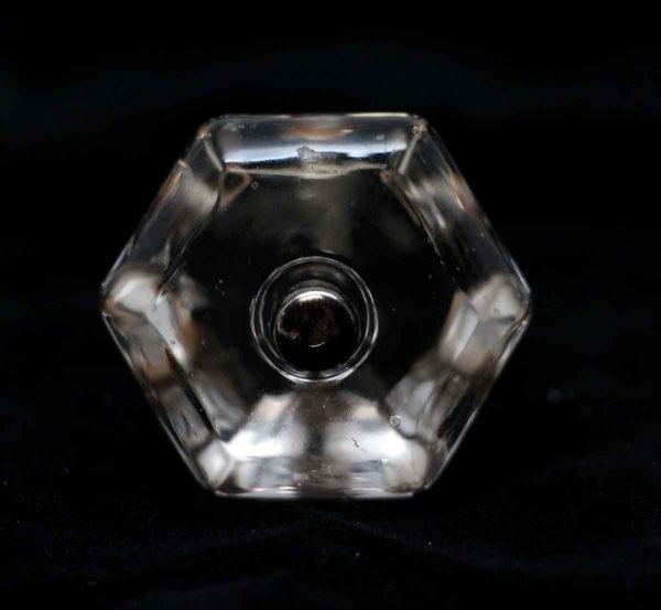 Cabinet & Furniture Knobs - Vintage Clear Glass Hexagon 1.5 in. Cabinet Drawer Knob