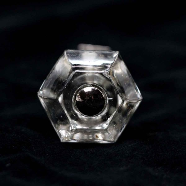 Cabinet & Furniture Knobs - Vintage Hexagon Shaped Clear Glass 1.25 in. Cabinet Drawer Knob