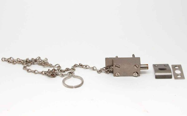 Cabinet & Furniture Latches - Nickel Plated Spring Bolt Cabinet Latch with Chain