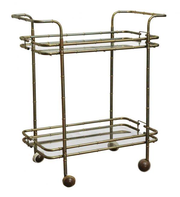 Carts - 1970s Glass & Brass Bamboo Designed Bar Cart