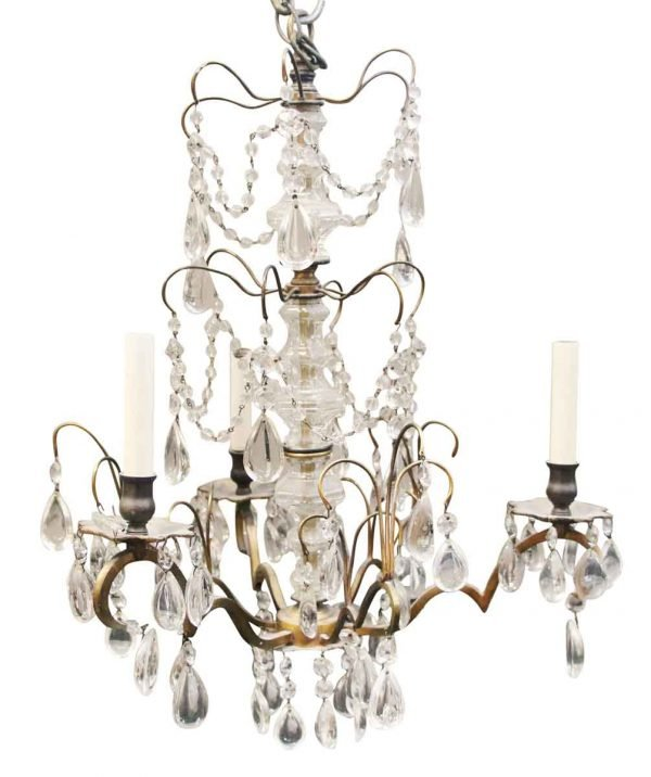 Chandeliers - 1930s Waldorf French Crystal & Brass Chandelier