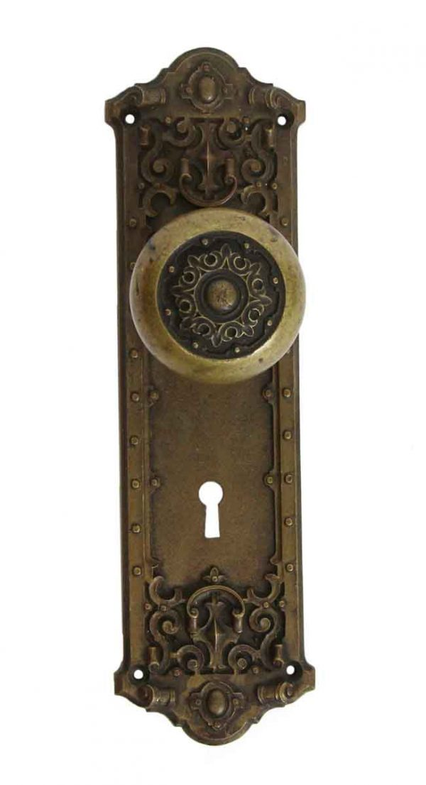 Door Knob Sets - Antique Gothic Lancaster Door knob & Plate set