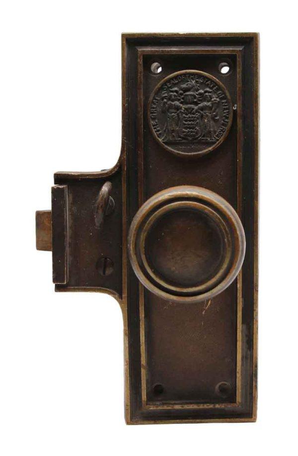 Door Knob Sets - Bronze State of New Jersey Monolock with Concentric Door Knob