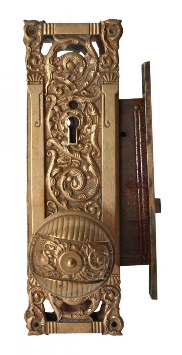 Door Knob Sets - Complete Reading Columbian Bronze Door Knob Set with Lock
