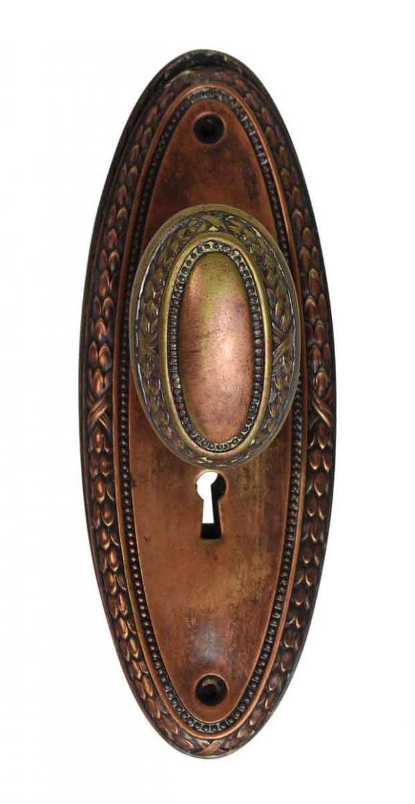 Door Knob Sets - Copper Plated Oval Door Knob Set with Oval Keyhole Back Plates