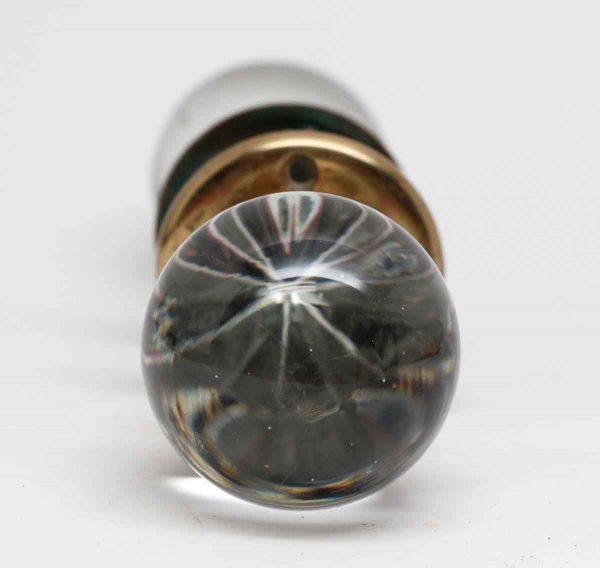Door Knob Sets - Pair of Crystal Door Knobs with Brass Rosettes