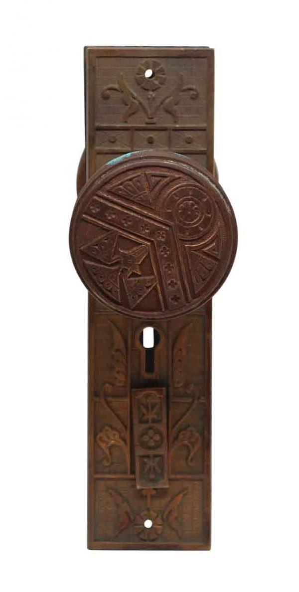Door Knob Sets - Pair of Eastlake Bronze Norwich Door Knobs with Back Plates