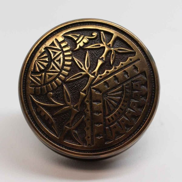 Door Knobs - Antique Branford Bronze Asymmetrical Entry Oriental Door Knob