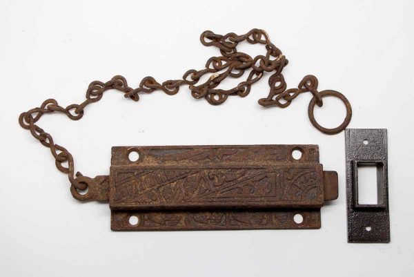 Door Locks - Aesthetic Cast Iron Surface Bolt Lock with Chain
