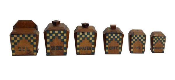 Kitchen - Set of Wooden Kitchen Canisters