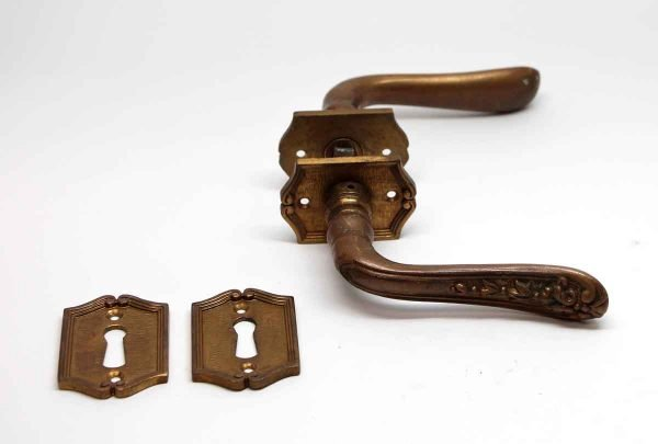 Levers - Pair of Floral Victorian Door Lever Handles with Keyholes