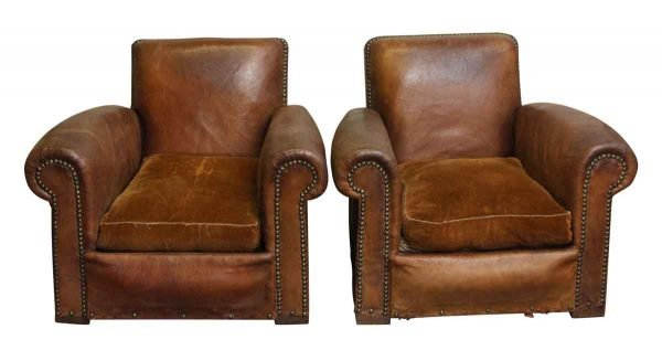 Living Room - Great Pair of Antique Leather Club Chairs