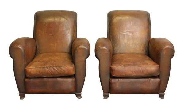 Living Room - Leather Pair of Club Chairs