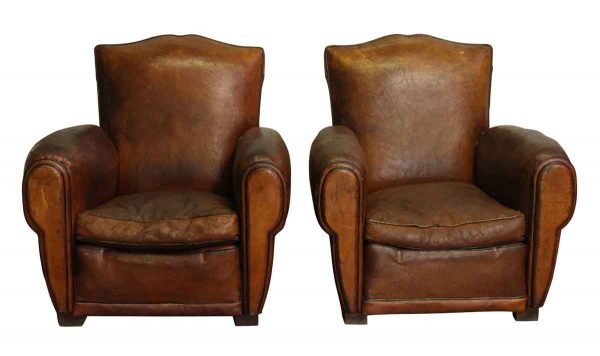 Living Room - Pair of Club Leather Vintage Chairs