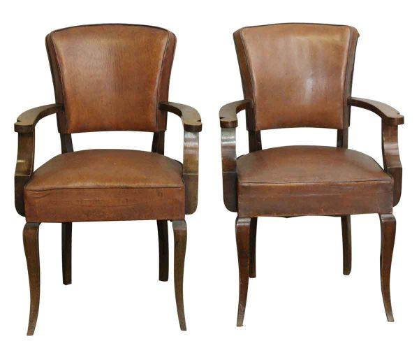 Living Room - Pair of Vintage Leather Bridge Chairs
