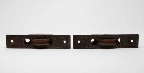 Pocket Door Hardware - Pair of Aesthetic Detailed Pocket Door Rollers