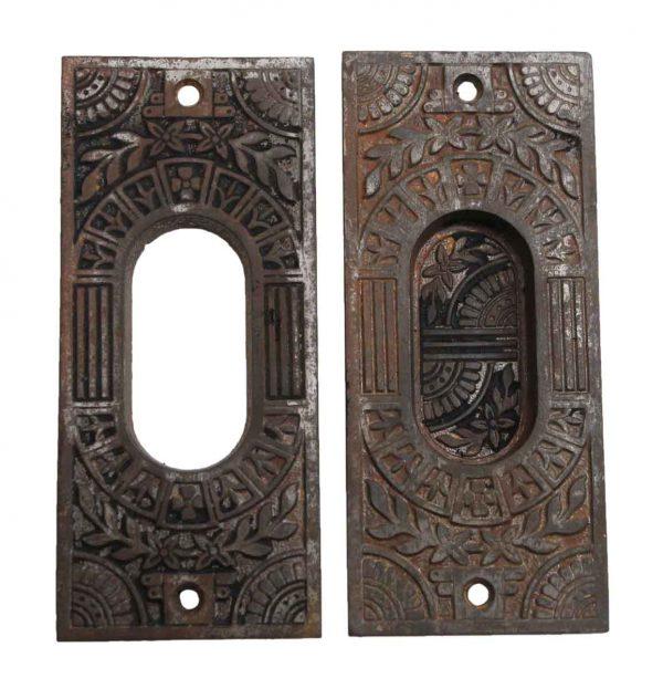 Pocket Door Hardware - Pair of Cast Iron Floral Pocket Door Plates