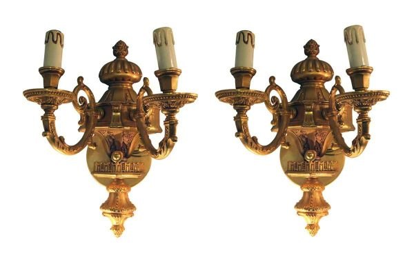Sconces & Wall Lighting - Pair of Waldorf Astoria Gold Plated Bronze Sconces