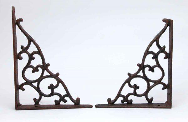 Shelf & Sign Brackets - Pair of Cast Iron Black Brackets