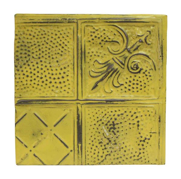Tin Panels - Diagonal Yellow Antique Tin Panel