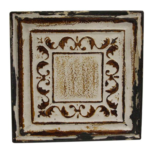 Tin Panels - White & Brown Squares Border Tin Panel