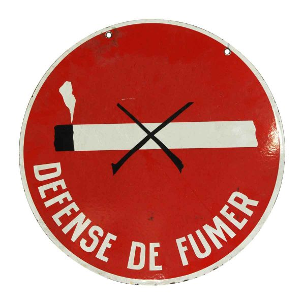Vintage Signs - Round Double Sided Defense de Fumer Sign