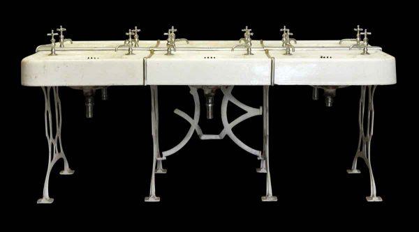 Bathroom - Vintage 6 Unit School Sink with Cast Iron Legs