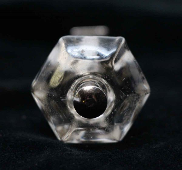 Cabinet & Furniture Knobs - 1.125 in. Vintage Hexagon Glass Drawer Cabinet Knob