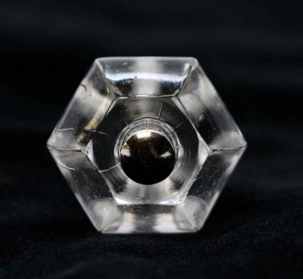 Cabinet & Furniture Knobs - 1.25 in. Vintage Hexagon Glass Cabinet Drawer Knob