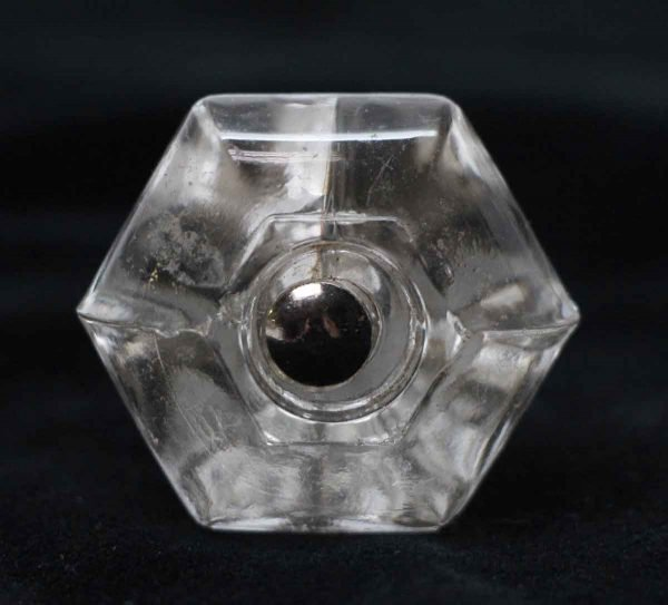 Cabinet & Furniture Knobs - 1.5 in. Vintage Hexagon Clear Glass Drawer Cabinet Knob