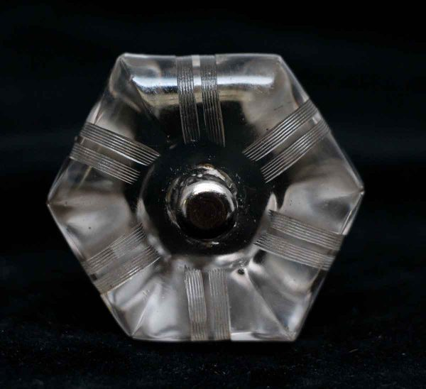 Cabinet & Furniture Knobs - 1.75 in. Vintage Etched Hexagon Glass Cabinet Knob