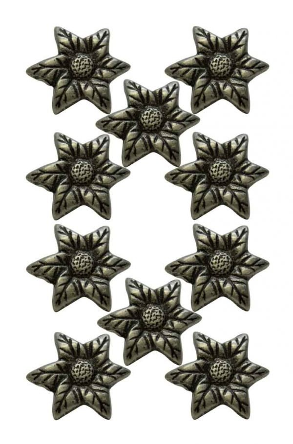 Cabinet & Furniture Knobs - Set of 10 New Pewter Finish Floral Cabinet Knobs