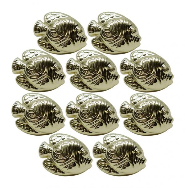 Cabinet & Furniture Knobs - Set of 10 Polished Brass Fish Shaped Cabinet Knobs