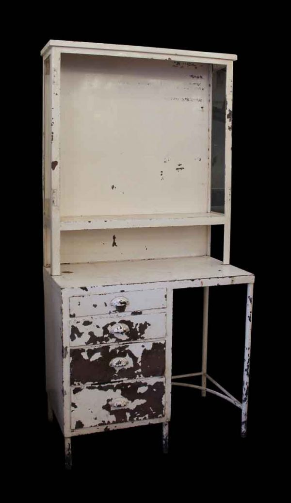 Cabinets - Vintage Medical Surgical Storage Cabinet Desk with Chippy Paint