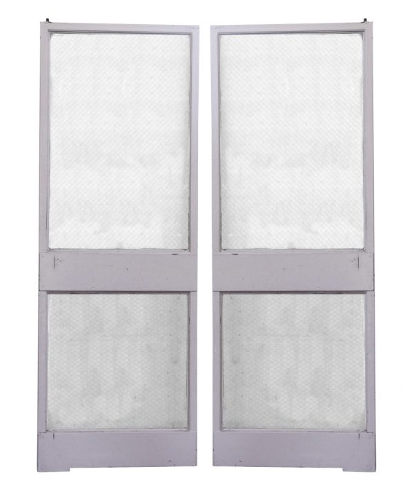 Commercial Doors - Classic Metal Frame Double Doors with Two Chicken Wire Glass Panels